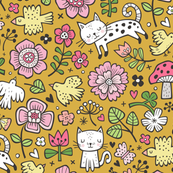 Cats Birds & Flowers Doodle on Mustard Yellow