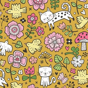 Cats Birds & Flowers Spring Doodle on Mustard Yellow