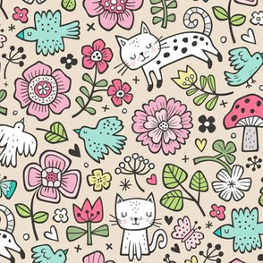 Cats Birds & Flowers Spring Doodle on Sand