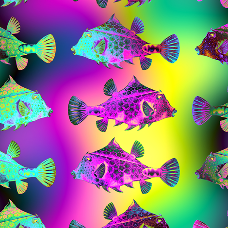 FUNNY FISH RAINBOW PSYCHEDELIC UNDERWATER WORLD OCEAN YELLOW FUCHSIA GREEN fabric by paysmage on Spoonflower - custom fabric