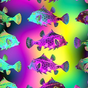 FUNNY FISH RAINBOW PSYCHEDELIC UNDERWATER WORLD OCEAN YELLOW FUCHSIA GREEN
