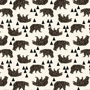 geo bear fabric // andrea lauren geometric bear design baby nursery fabric multi-directional version - mini