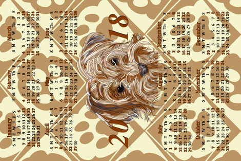2018-_Nuggy_Calendar fabric by house_of_heasman on Spoonflower - custom fabric