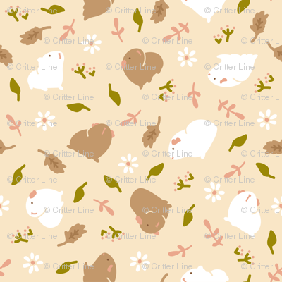 Guinea pig/Piggy with Flowers (beige)