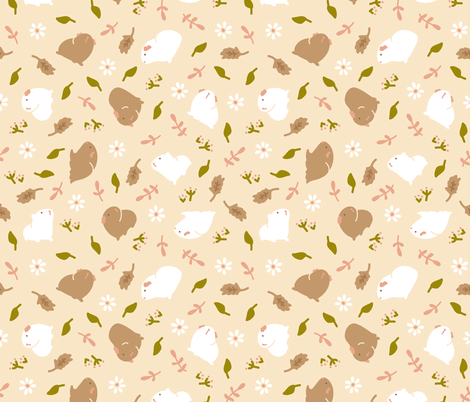 Guinea pig/Piggy with Flowers (beige) fabric by critter_line on Spoonflower - custom fabric