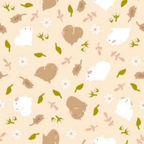 Guinea pig/Piggy with Flowers (beige)