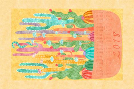 2018 Desert Sunshine Calendar fabric by vo_aka_virginiao on Spoonflower - custom fabric