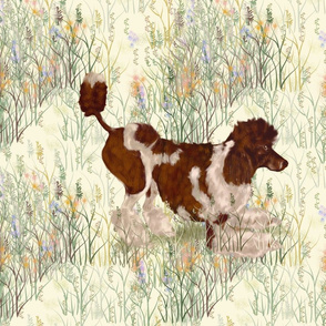 Brown Parti Poodle in Wildflowers for Pillow
