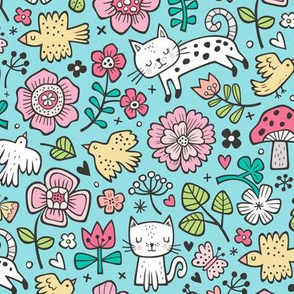 Cats Birds & Flowers Spring Doodle on Blue