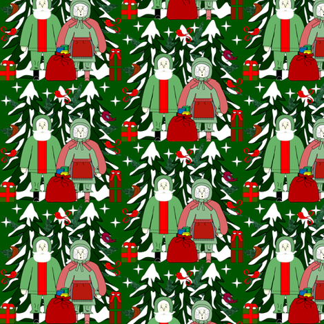 Call Me Margaretta Claus and Crazy Claus At Your Service Fabric Collection fabric by lworiginals on Spoonflower - custom fabric