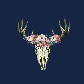 Floral Deer Skull on Navy