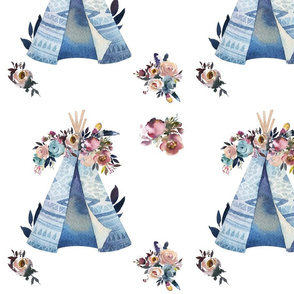 Teepee and Flowers in Blue