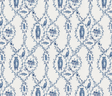 Blueberry Woods Toile  fabric by passionflora_design on Spoonflower - custom fabric
