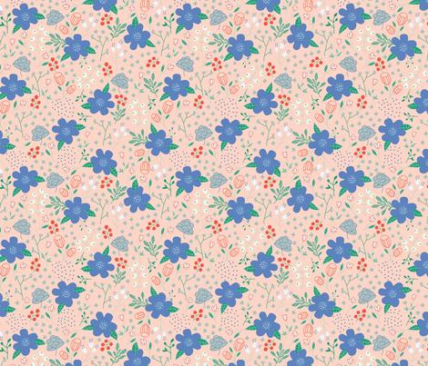 salmon_floral fabric by inezjestine on Spoonflower - custom fabric