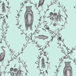 Blueberry Woods Toile Slate Mint