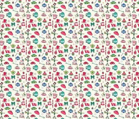 Tea & Cupcakes - 4in fabric by studiofibonacci on Spoonflower - custom fabric