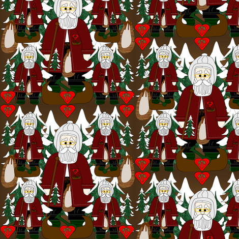 Morning Walk Karl Woodland Santa Fabric Collection fabric by lworiginals on Spoonflower - custom fabric