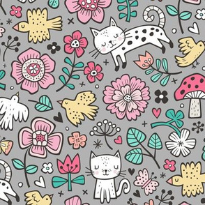 Cats Birds & Flowers Spring Doodle on Grey