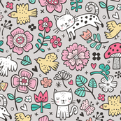 Cats Birds & Flowers Doodle on Light Grey
