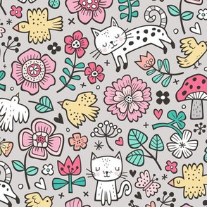 Cats Birds & Flowers Spring Doodle on Light Grey