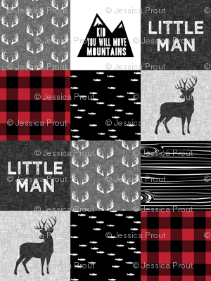 little man - red and black (buck) quilt woodland w/ kid you will move mountains