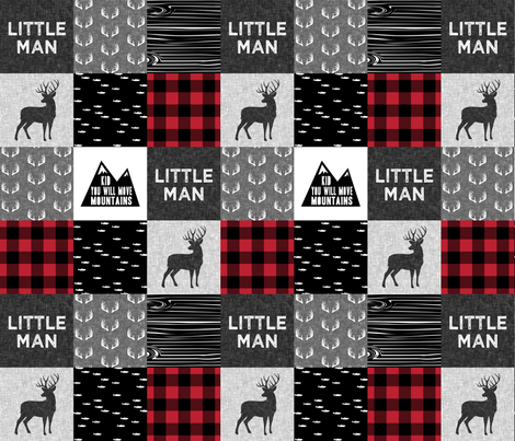 little man - red and black (buck) quilt woodland w/ kid you will move mountains fabric by littlearrowdesign on Spoonflower - custom fabric