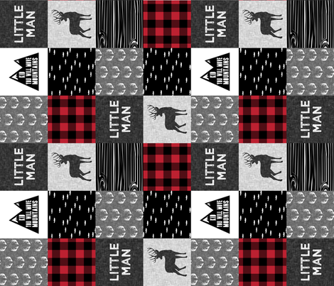 little man - red and black (buck) quilt woodland w/ kid you will move mountains (90) fabric by littlearrowdesign on Spoonflower - custom fabric