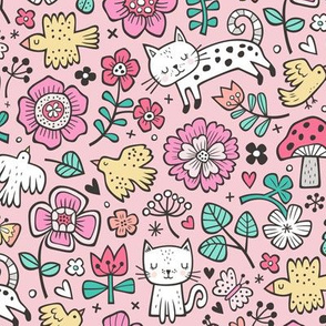 Cats Birds & Flowers Spring Doodle on Pink