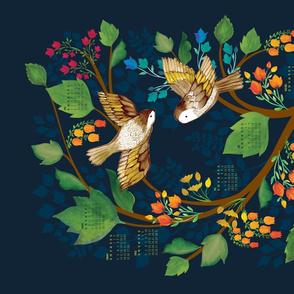 Birdsong 2018 Calendar Tea Towel
