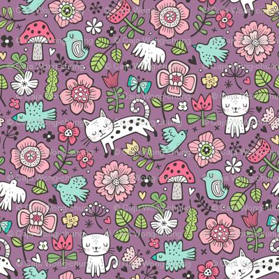 Cats Birds & Flowers Spring Doodle on Purple Mauve