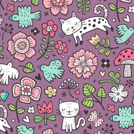 Cats Birds & Flowers Spring Doodle on Purple Mauve fabric by caja_design on Spoonflower - custom fabric
