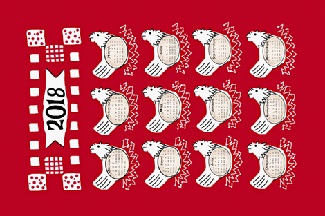 What came first, the Sunday or the Monday? Chicken & Egg Calander in red fabric by franbail on Spoonflower - custom fabric