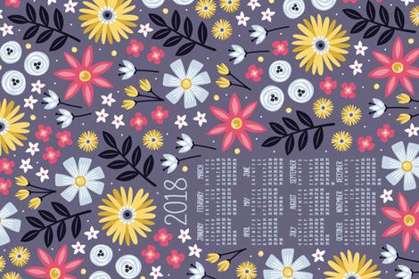 Garden Joy 2018 Tea Towel Calendar fabric by robyriker on Spoonflower - custom fabric