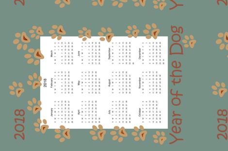 Year_of_the_Dog_Calendar_Tea_Towel fabric by teerymae on Spoonflower - custom fabric