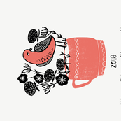 2018 bird tea towel calendar - bird on a teacup by andrea lauren