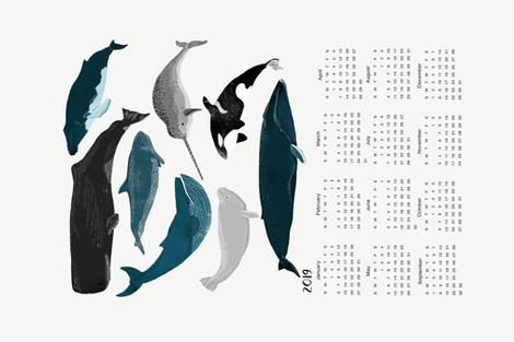 2019 whale tea towel calendar - whales by andrea lauren fabric by andrea_lauren on Spoonflower - custom fabric