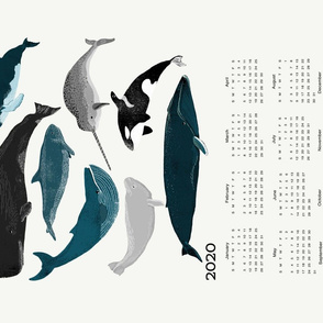 2020 whale tea towel calendar - whales by andrea lauren
