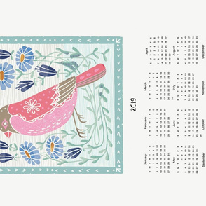 2019 bird tea towel calendar - bird linocut by andrea lauren