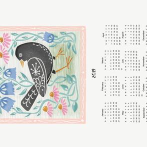 2019 bird tea towel calendar - blackbird by andrea lauren