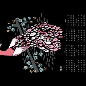 2019 bird tea towel calendar - peacock by andrea lauren