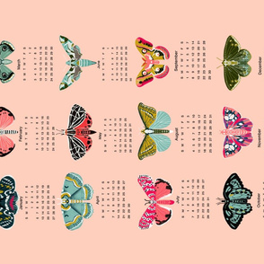 2019 moth tea towel calendar - moths by andrea lauren