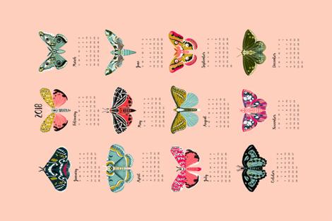 2018 moth tea towel calendar - moths by andrea lauren fabric by andrea_lauren on Spoonflower - custom fabric