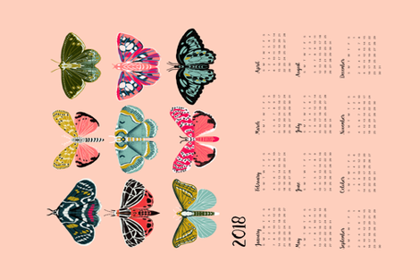 2018 moth tea towel calendar - moths by andrea lauren fabric by andrea_lauren on Spoonflower - custom fabric