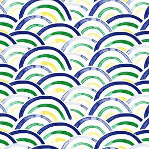 rainbows (blue, green, yellow)