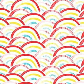 rainbows (red, yellow, blue)