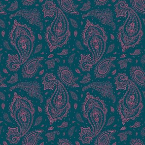Peacock and Pink Paisley-ch