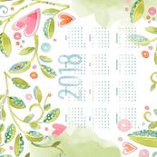 Sweet Watercolor Blooms 2018 Tea Towels_Hearts