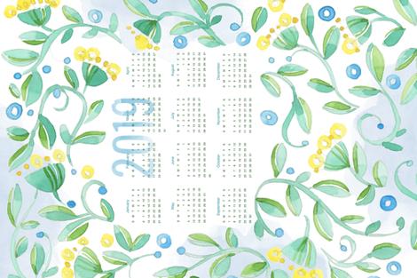 Sweet Watercolor Blooms 2019 Tea Towels_Hearts fabric by robinpickens on Spoonflower - custom fabric