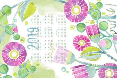 Sweet Watercolor Blooms 2019 Tea Towels-PurpleHappy fabric by robinpickens on Spoonflower - custom fabric