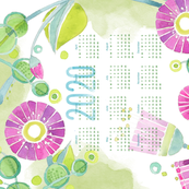 Sweet Watercolor Blooms 2020 Tea Towels-PurpleHappy